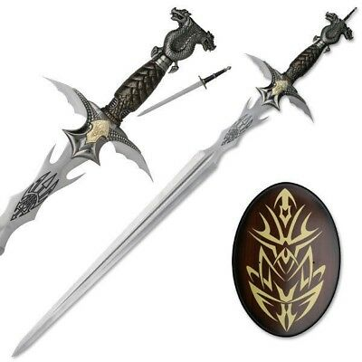 Double Dragon Blade Master Fantasy Sword Dagger with Wooden Display Plaque