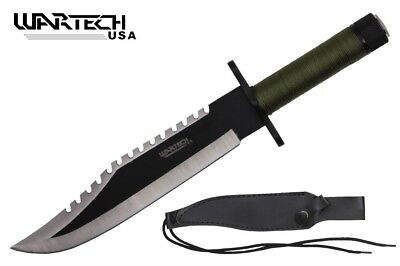 """15"""" Two Tone Blade Rambo Survival Knife with Survival Kits & Sheath"""