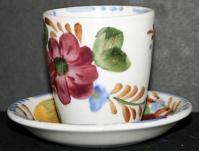 Egg Cup and Saucer Chanticleer Belle Fiore Simpsons, Cobridge Hand Painted