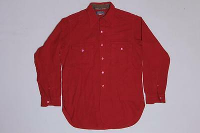 30s Mens Vintage Pendleton Red Plain Wool Flannel Shirt S