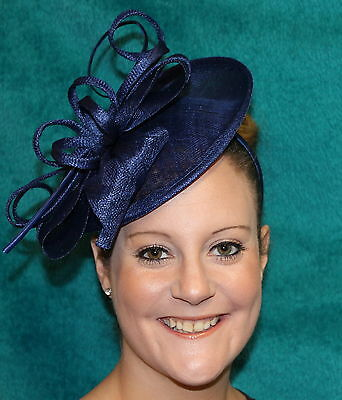 Large Bow Fischer UK Design Fascinator Hatinator on headband Hair band Navy