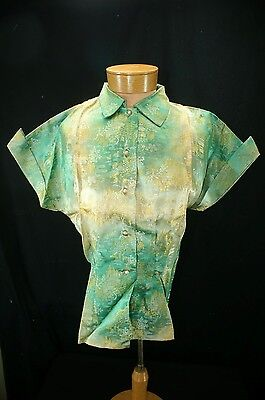 Vtg NOS Asian Chinese Blouse Top Green Gold Satin Brocade Bust 38 inches