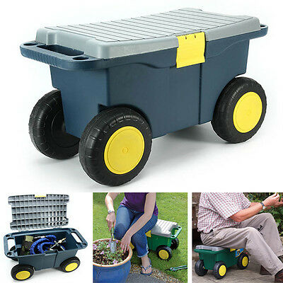 Removable Garden Tool Cart Seat 4 Wheels Plastic Tools Storage Container Scooter