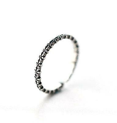 FREE SHIP! solid silver 925 open resizable ring FLOWERS IN SEQUENCE