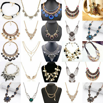 New Women Necklace Crystal Gold Plated Bib Chunky Party Pendant Chain Pearl