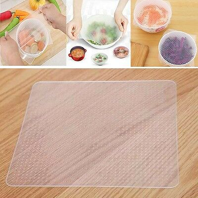 Reusable Silicone Plastic Food Fresh Keeping Wrap Stretch Film Seal Cover New