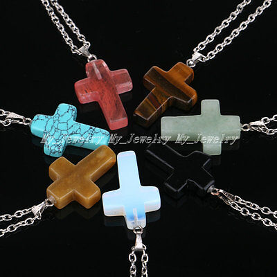 Fashion Gemstone Cross Pendant Necklace Healing Stone Gifts Quartz Point Chakra
