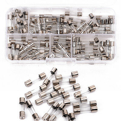 100Pcs Set 5x20mm Quick Blow Glass Tube Fuse Assorted Kits,Fast-blow Glass Fuses