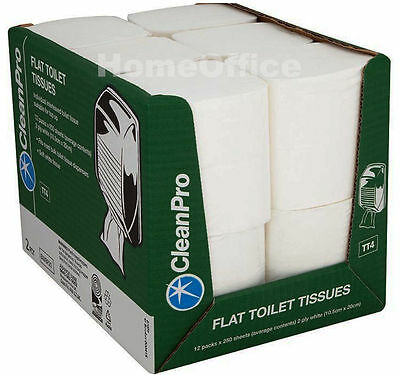 Flat Soft Interleaved 2 ply Toilet Paper Tissues Fits Wall Mounted Dispensers