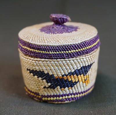 Extremely Fine Weaved Nootka Eagle Knob Basket by Renowned Frances Williams