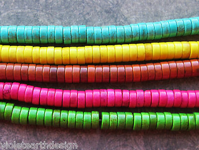 50 Dyed Howlite Heishi Beads 8x4mm