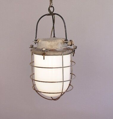Early 1900s Industrial Light Lamp Lantern Pendant Metal Cage Glass (8487)