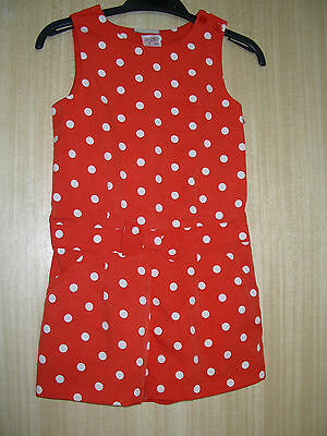 Girls Bnwot 'Next' Red & White Spot Print Playsuit Sizes 2 to 16 years RRP £18