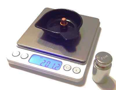 Reloading Scale Low Cost, Large Base,1500Gn W/calibration Weight And 5 Pans