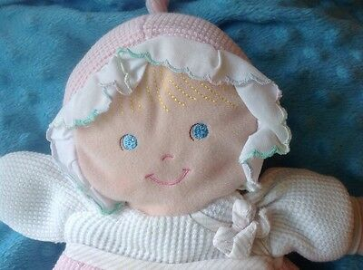 Vintage  Eden Pink And White Weave cloth Doll Babies First Doll Plush