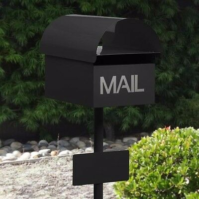 Milkcan BLACK Round Top Mailbox Letterbox Key Lock INCLUDES Post + Number Plate