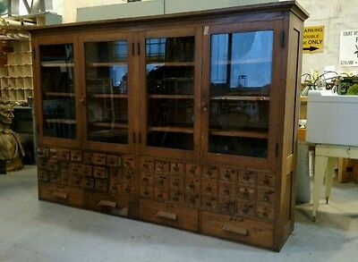 Reclaimed Vintage Antique Oak Built-in Science/Lab Cabinet Indianapolis Schools