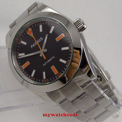 40mm PARNIS black dial sapphire glass miyota automatic folding clasp mens watch
