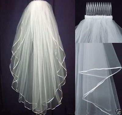 New White or Ivory 2 T Wedding Bridal Veil Satin Edge With Comb