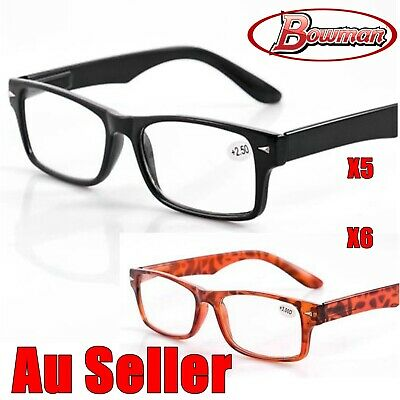 5Pairs Mens Ladies Wayfarer Frame Magnifying Reading Glasses Nerd Spectacle