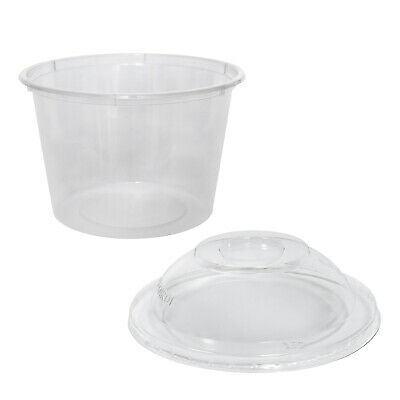 500x Clear Plastic Container with Dome Lid 520mL Round Disposable Rice Dish