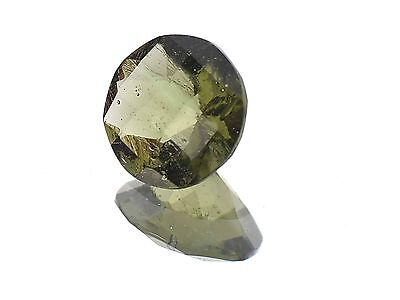 1.13cts round 8mm CHECKER TOP moldavite faceted cutted gem BRUS1358