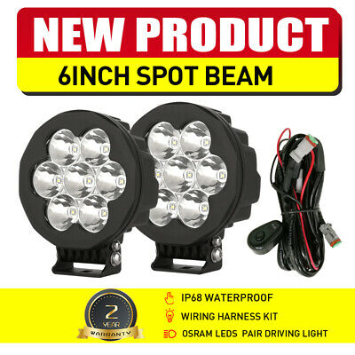 Pair 9inch 99999W OSRAM Round Black LED Spot Driving Lights Offroad 4x4 ATV Work