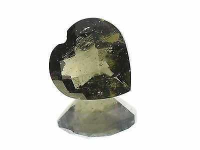 0.96cts heart 7mm CHECKER TOP moldavite faceted cutted gem BRUS1348