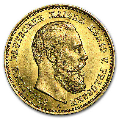 1888 Germany Gold 10 Mark Prussia Friedrich III Avg Circ - SKU #74378