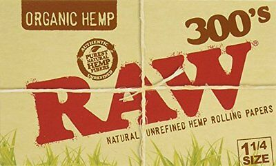 NEW Raw 300 Organic 1.25 1 1 4 Size Rolling Papers 5 Pack = 1500 Leaves