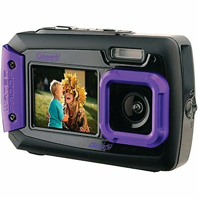 Coleman Duo2 2V9WP P 20 MP Waterproof Digital Camera with Dual LCD Screen Purple