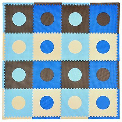 NEW Tadpoles 16 Sq Ft Playmat Set Blue Brown FREE SHIPPING