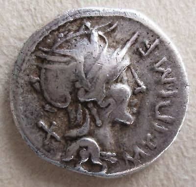 Roman Republic Silver Denarius Coin. Archaeology