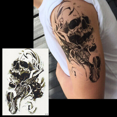 Grand Tatouage Temporaire Tete De Mort Ephemere Faux Tattoo