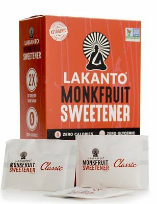 Lakanto Classic Monk Fruit Sweetener Sticks, Sugar Free, Low Carb, Zero Calories
