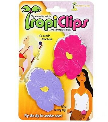 TropiClips Hibiscus Beach Towel Clips 2PC - Blue and Purple