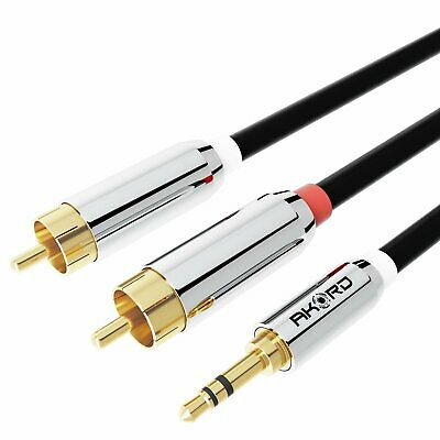 1 Metre Professional 3.5m Cable to TWIN 2 x RCA PHONO Stereo Audio Lead GOLD
