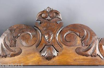 French Antique Carved  Pediment Wood Wooden Panel