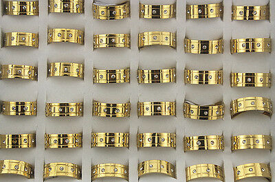 Job Lots 28pcs stainless steel Rhinestone Gold Band Fashion Top Rings
