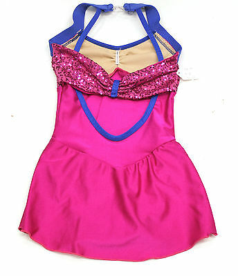 New Competition Skating Dress Elite Xpression Pink Orchid Lycra Sequins CS 6-8