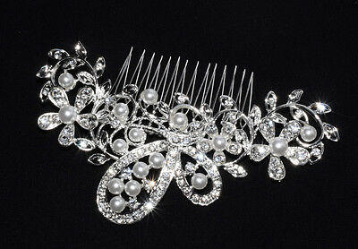 Peigne à Cheveux Perles Blanches & Strass Accessoires Coiffure Mariage