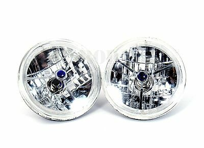 "7"" Tri Bar with Blue Dot Headlight with LED Halo Ring Design H4 Blub 12V by Pair"