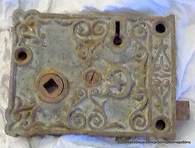 Vintage Ornate Cast Iron Door Lock-Nr