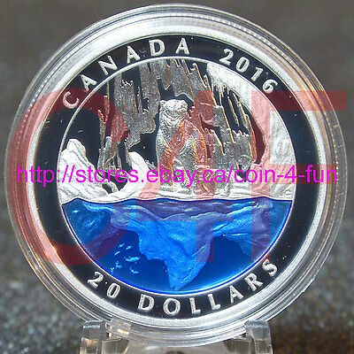 2016 Canada - Polar Bear with Blue Enamel - $20 Pure Silver Master Club Coin #3