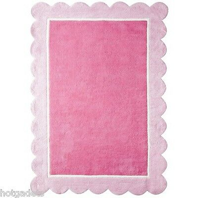 Girls Scalloped Border Accent Hand Tufted 100% Cotton Area Rug - Pink 7' X 10'