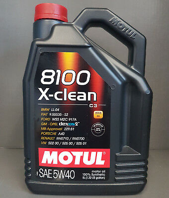 5 Litre Motul Engine Oil 5W40 8100 X-Clean C3 Fully Synthetic VW Ford BMW #