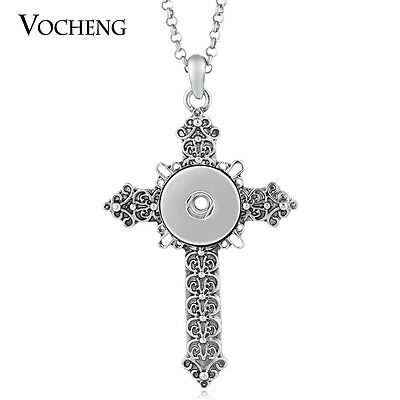 10pcs/lot Cross Necklace 18mm Snap Charm Vocheng Stainless Steel Chain NN-433*10