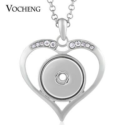 10pcs/lot Vocheng Snap Heart Necklace Pendant Stainless Steel Chain NN-434*10