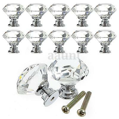 10Pcs Crystal Glass Cabinet Knob Diamond Shape 30mm Drawer Cupboard Handle Pull