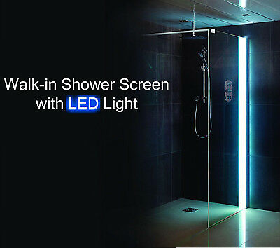 LED Walk In Shower Panel 8mm Glass Screen Enclosure Wet Room Light Various Size